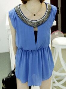 Blue Beading Neckline Cut Out Back Sleeveless Chiffon Blouse