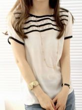 White Short Sleeve Striped Lace Button Back Blouse
