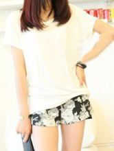 White Round Neck Short Sleeve Lace Backless Loose Cotton T-Shirt