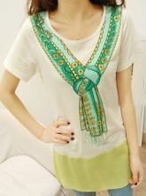 White Round Neck Short Sleeve Scarves Print Cotton T-Shirt