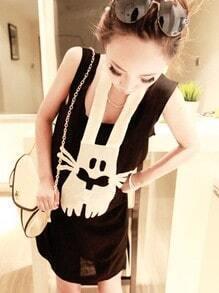Black Scoop Neck Sleeveless Rabbit Print Halter Cotton T-Shirt