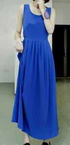 Blue Spaghetti Strap Backless Sleeveless Bow Ruched Full Length Dress
