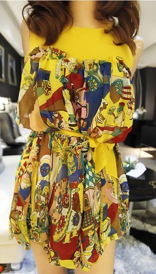 Yellow Sleeveless Round Neck Sashes Pleated Print Dress