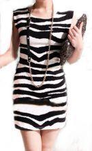 Black Round Neck Sleeveless Zebra Print Sheath Above Knee Dress