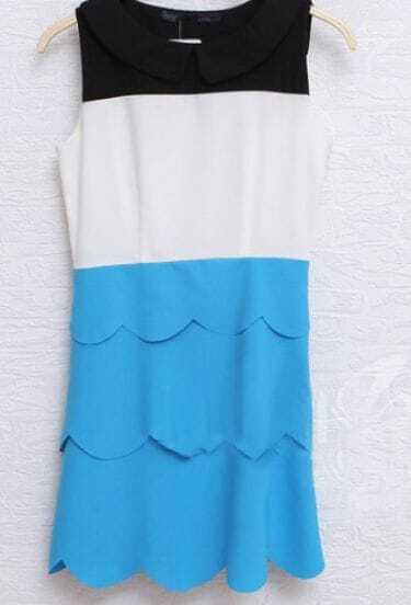 Blue Peter Pan Collar Sleeveless Scallop Layers Short Dress