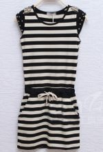 Blue Short Sleeve Pearls Sashes Pockets Striped Above knee Dress