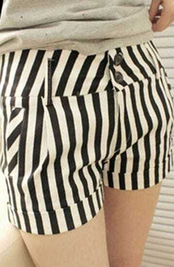 Black White Striped Skinny Button Fly Shorts