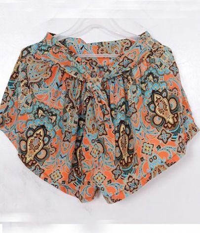 Orange Tribal Print Ruffle Shorts