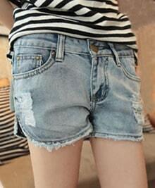 Light Blue Ripped Zipper Fly Pocket Slim Shorts