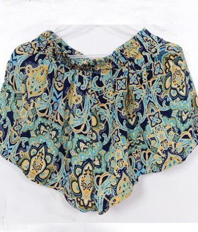 Dark Blue Tribal Print Ruffle Shorts