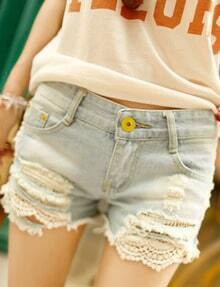 Light Blue Bleached Lace Ripped Denim Shorts