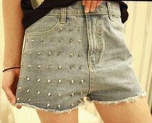 Plain Rivet Zipper Fly Skinny Denim shorts