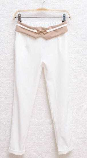 White Metal Bow Turn Back Chiffon Pant
