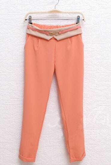 Pink Metal Bow Turn Back Chiffon Pant