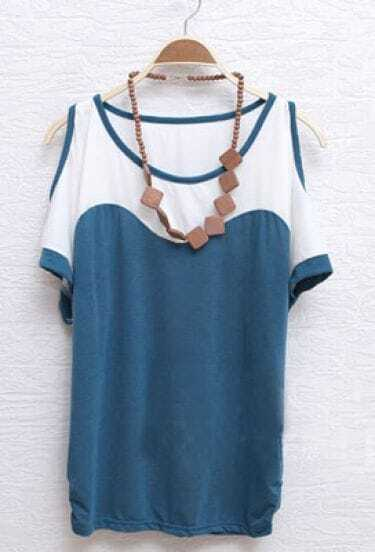 Blue Scoop Neck Cut Out Shoulder Ruched Side T-shirt