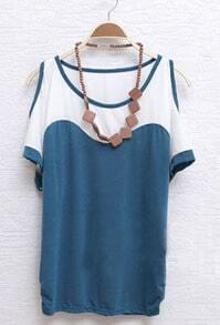 Blue Scoop Neck Cut Out Shoulder Ruched Side T-shirt