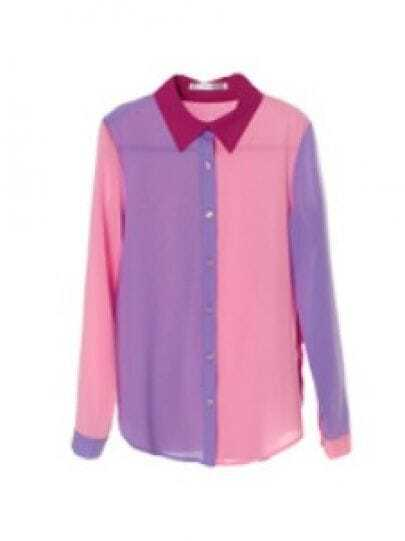 Pink Red And Purple Contrast Long Sleeve Chiffon Shirt -SheIn ...