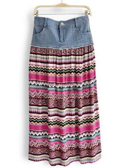 Red Denim Striped Pleated Floral Skirts