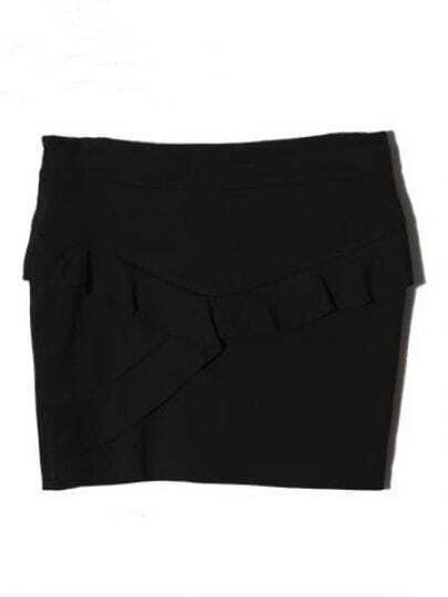 Black Ruffles Cotton Skirts