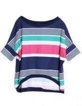 Multi Round Neck Short Sleeve Batwing Loose Cotton T-Shirt