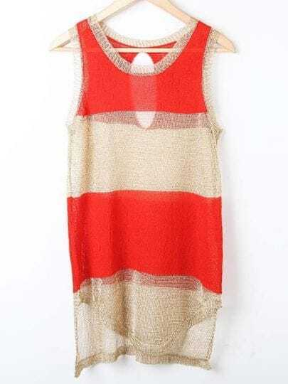 Orange Striped Panel Cut Out Back Knitted Sweater Vest Top