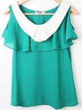 Green Contrast Cape Collar Cold Shoulder Chiffon Blouse