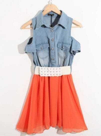 Orange Cold Shoulder Denim Chiffon Rhinestone Belted Shirt Dress