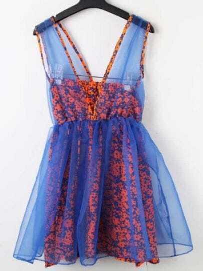 Blue Deep V-neck Sleeveless Organza Floral Tube Chiffon Dress