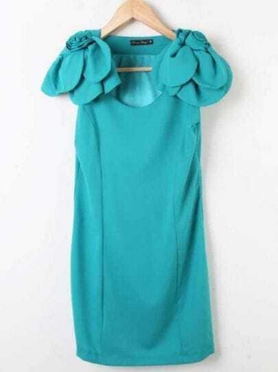 Turquoise Rosette Shoulder Sleeveless Sheath Zip Side Dress