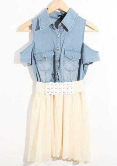 Beige Cold Shoulder Denim Chiffon Rhinestone Belted Shirt Dress