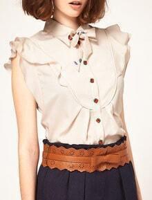 Beige Ruffles Cherry Button Sleeveless Chiffon Shirt