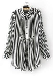 Black White Striped Long Sleeve Sheer Shirt