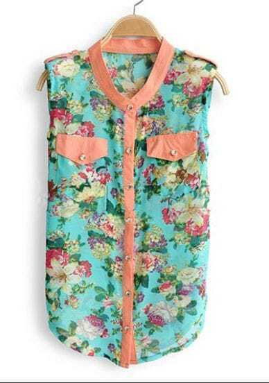 Turquoise Floral Print Pocket Sleeveless Curved Hem Shirt