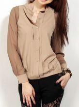 Khaki Band Neck Contrast Long Sleeve Pintucks Shirt