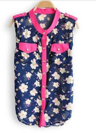 Navy Floral Print Pocket Sleeveless Curved Hem Shirt