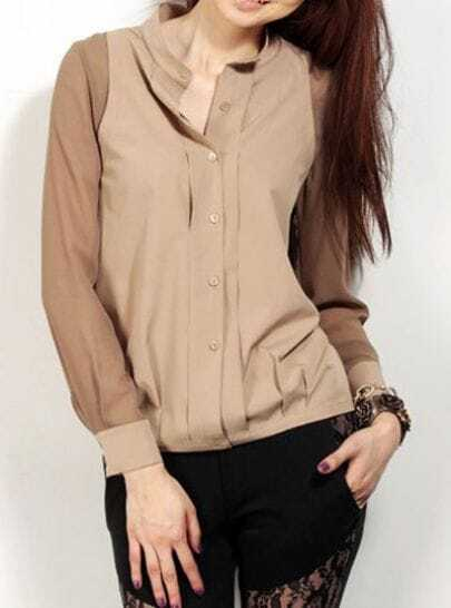 Khaki Band Neck Contrast Long Sleeve Pintucks Shirt