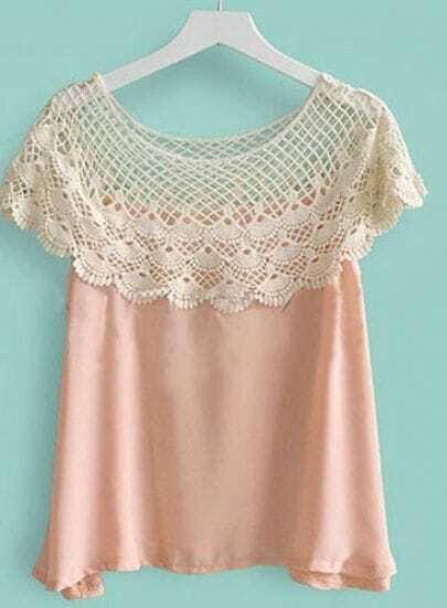 Beige Crochet Floral Lace Cape Collar Chiffon Blouse