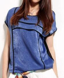 Blue Round Neck Contrast Trims Short Sleeve Blouse