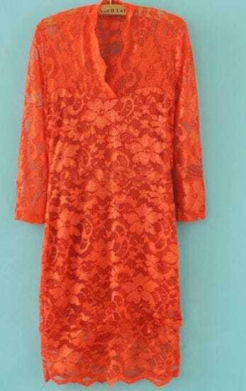 Orange Lace Three Quarter Length Fitted Above Knee Dress