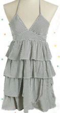Grey Halter Top Sleeveless Tiered Ruffle Striped Dress