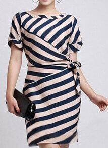 Navy Blue Short Sleeve Striped Sashes Wrap Above Knee Dress