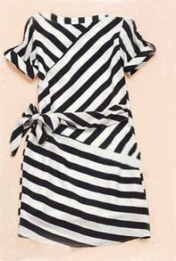 Black and White Short Sleeve Striped Sashes Wrap Above Knee Dress