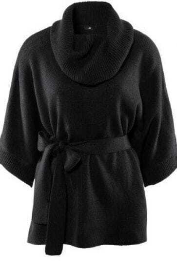 Black High Neck Dolman Half Sleeve Belted Sweaters