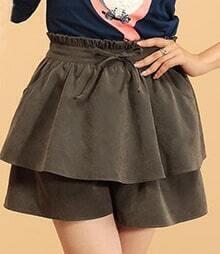 Amy Green High Waist Tiered Ruffle Skirt Zip Back Shorts