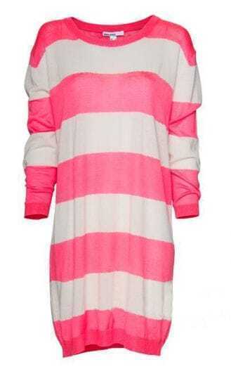 Pink Striped Three Quarter Length Sleeve Long Sweaters