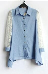 Blue Floral Lace Long Sleeve Hanky Hem Denim Shirt