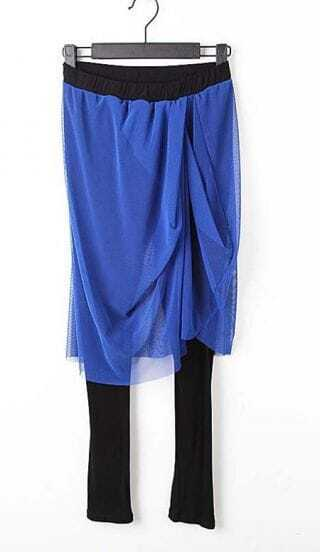 Blue Gauze Elastic Waist Cotton Blends Cuffed Pants