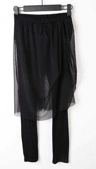 Black Gauze Elastic Waist Cotton Blends Cuffed Pants