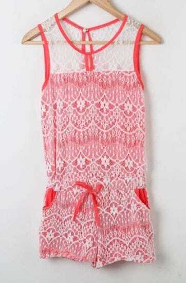 Pink Lace Contrast Darwstring Wasit Tank Jumpsuit