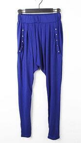 Blue Rivet Cotton Elastic Waist Harlan Long Pants